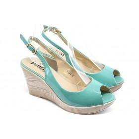 Дамски сандали - еко кожа-лак - зелени - EO-3815