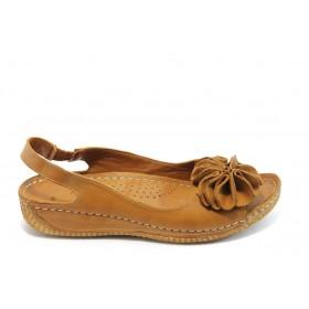 Дамски сандали - естествена кожа - кафяви - EO-3810