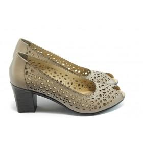 Дамски обувки на среден ток - естествена кожа с перфорация - кафяви - EO-3817
