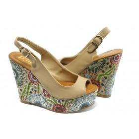 Дамски сандали - еко-кожа - бежови - EO-3812
