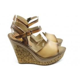 Дамски сандали - естествена кожа - светлокафяв - EO-3833
