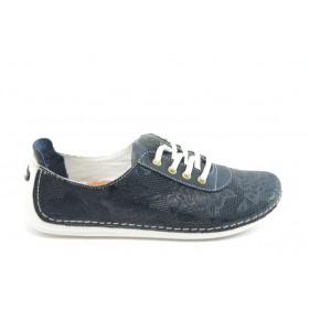 Равни дамски обувки - естествена кожа - сини - EO-3835
