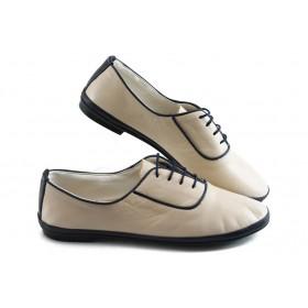 Равни дамски обувки - естествена кожа - бежови - EO-3854