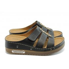 Дамски чехли - висококачествена еко-кожа - черни - EO-3798