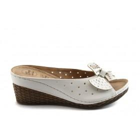 Дамски чехли - висококачествена еко-кожа - бели - EO-3799