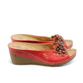 Дамски чехли - висококачествена еко-кожа - червени - EO-4049