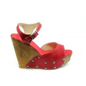 Дамски сандали - висококачествена еко-кожа - бордо - EO-4051