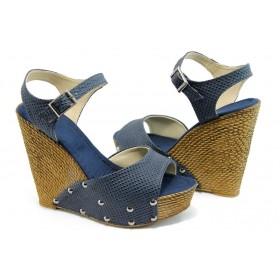 Дамски сандали - висококачествена еко-кожа - сини - EO-4052