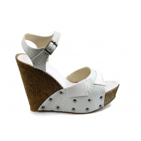 Дамски сандали - висококачествена еко-кожа - бели - EO-4064