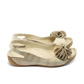 Дамски сандали - естествена кожа - бежови - EO-4067