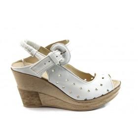 Дамски сандали - естествена кожа - бели - EO-4100