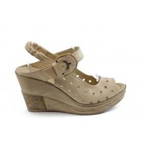 Дамски сандали - естествена кожа - бежови - EO-4101