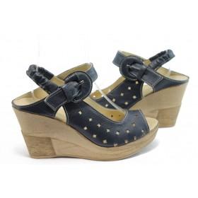 Дамски сандали - естествена кожа - сини - EO-4102