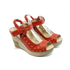 Дамски сандали - естествена кожа - червени - EO-4103