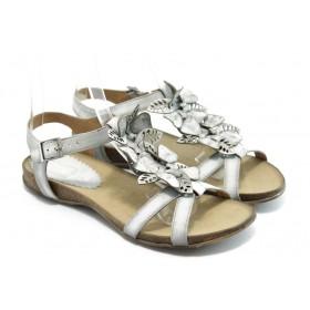 Дамски сандали - естествена кожа - бели - EO-4127