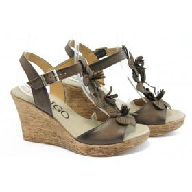 Дамски сандали - естествена кожа - кафяви - EO-4131