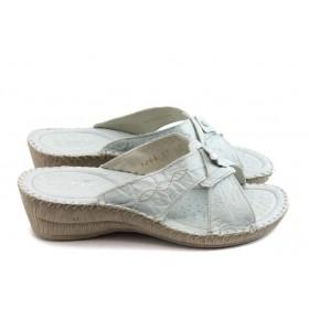 Дамски чехли - естествена кожа - бели - EO-4134
