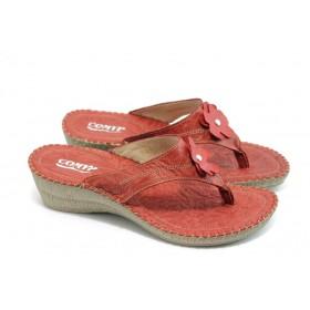 Дамски чехли - естествена кожа - червени - EO-4114