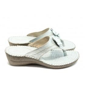 Дамски чехли - естествена кожа - бели - EO-4180