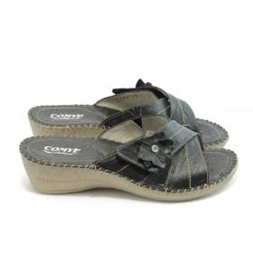 Дамски чехли - естествена кожа - черни - EO-4183