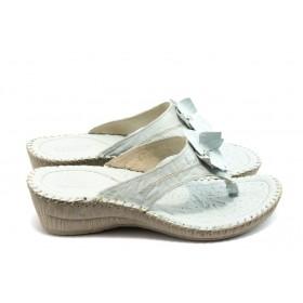 Дамски чехли - естествена кожа - бели - EO-4184