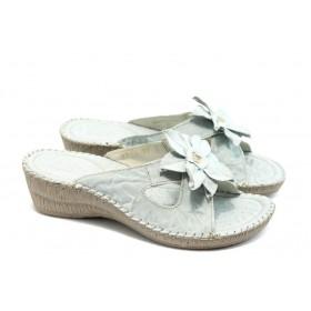 Дамски чехли - естествена кожа - бели - EO-4181