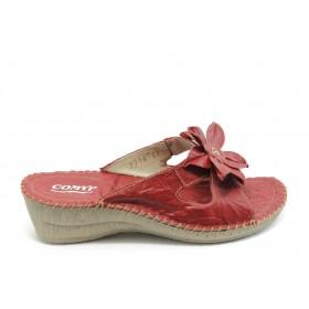 Дамски чехли - естествена кожа - червени - EO-4187