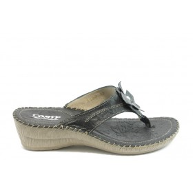 Дамски чехли - естествена кожа - черни - EO-4222