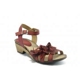 Дамски чехли - естествена кожа - червени - EO-4244