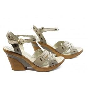 Дамски сандали - естествена кожа - бежови - EO-4200