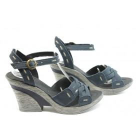 Дамски сандали - естествена кожа - сини - EO-4246