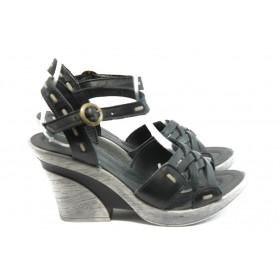 Дамски сандали - естествена кожа - черни - EO-4247