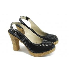 Дамски сандали - еко-кожа - черни - EO-4245
