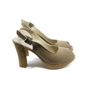 Дамски сандали - еко-кожа - бежови - EO-4259