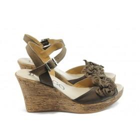 Дамски сандали - естествена кожа - кафяви - EO-4270