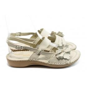 Дамски сандали - естествена кожа - бежови - EO-6328