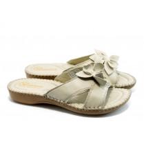 Дамски чехли - естествена кожа - бежови - EO-4191