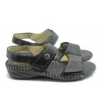 Дамски сандали - естествена кожа - черни - EO-4274
