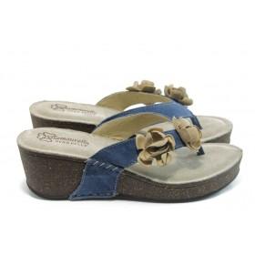 Дамски чехли - естествен велур - сини - EO-4275