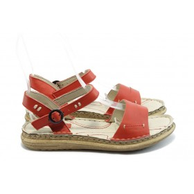 Дамски сандали - естествен набук - червени - EO-4280