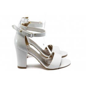 Дамски сандали - еко кожа-лак - бели - EO-6352