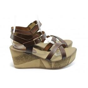 Дамски сандали - естествена кожа - кафяви - EO-4273
