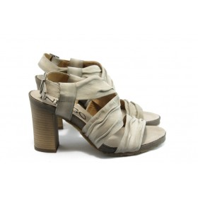 Дамски сандали - естествен велур - бежови - EO-4348