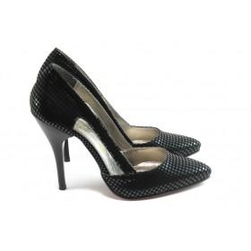 Дамски обувки на висок ток - висококачествена еко-кожа - черни - EO-4338