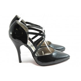Дамски обувки на висок ток - еко кожа-лак - черни - EO-4350