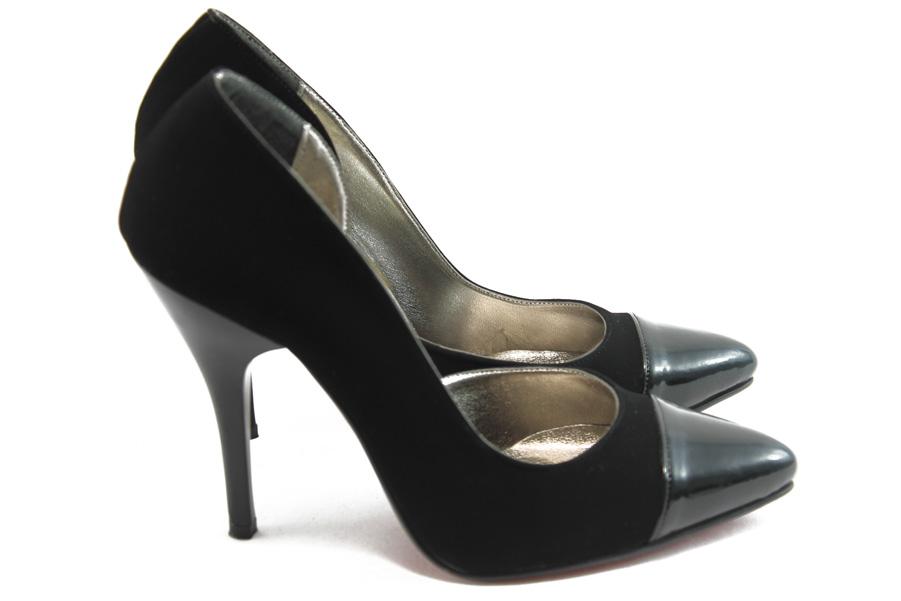 Дамски обувки на висок ток - еко-кожа с текстил - черни - EO-4351