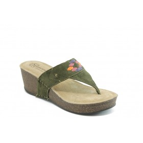 Дамски чехли - висококачествена еко-кожа - зелени - EO-4372