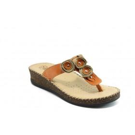 Дамски чехли - естествена кожа - оранжеви - EO-4375