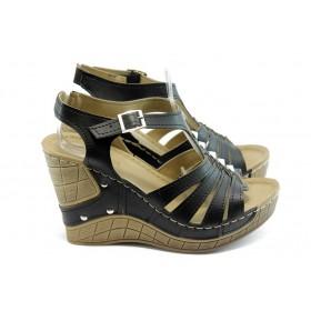 Дамски сандали - висококачествена еко-кожа - черни - EO-4378