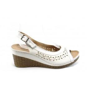 Дамски сандали - висококачествена еко-кожа - бели - EO-4388